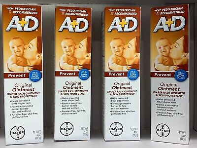 4 BAYER A+D ORIGINAL DIAPER RASH OINTMENT & SKIN PROTECTANT 4oz EACH EXP 01/2023