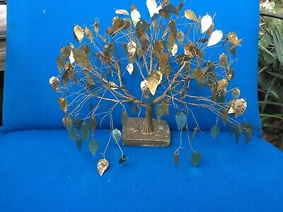 MCM Dream Tree Sculpture J.E. Tramel Gold Leaf Twisted Wire Labeled & Number Vtg