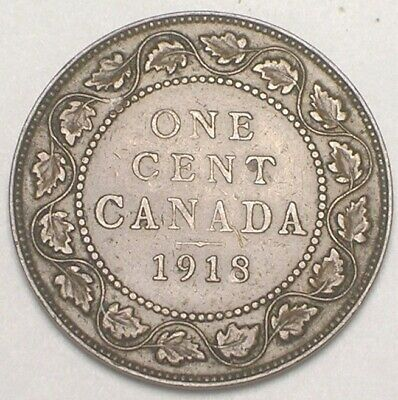 1918 Canada Canadian One 1 Cent King George V Coin VF