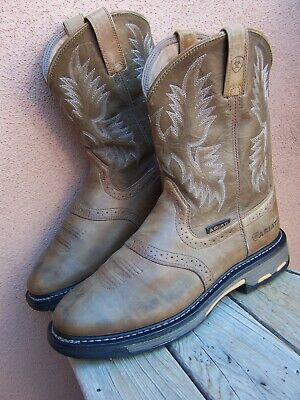ARIAT Mens Cowboy Boots Cognac Brown Leather Western Saddle Ropers Size 10.5EE