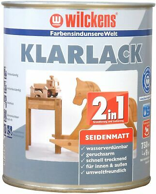 Wilckens 0,75l 2in1 Vernis Transparent Satiné Incolore Couche de Base Apprêt