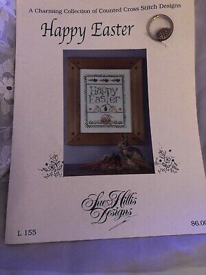 Sue Hillis Designs #L155 Happy Easter, A Counted Cross Stitch Charming leaflet