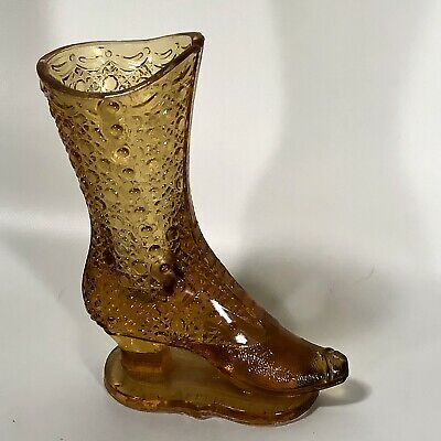 EAPG 1886 Antique Glass Victorian Amber Boot Bouquet Holder Shoe Vase Bryce Bro