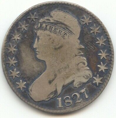 1827 Capped Bust Half Dollar, Curl Base 2, Original VG