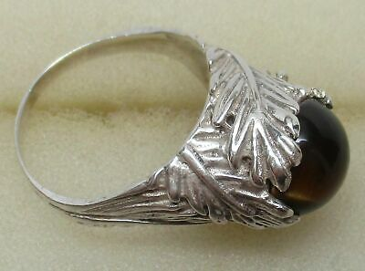 Antique STERLING SILVER Art Deco TIGER'S EYE Flower Ring (SIZE: 7.5) - GORGEOUS!