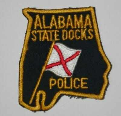 Old Vintage Alabama State Docks Police Patch Al - 3 1/2 Inches - State Shaped