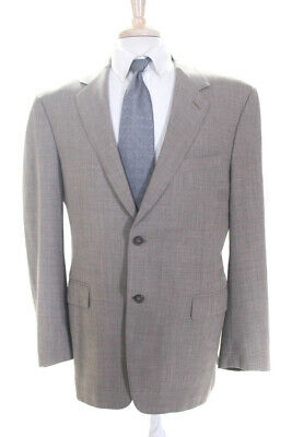 Canali Mens Two Button Up Collared Blazer Suit Jacket Beige Wool Size 56
