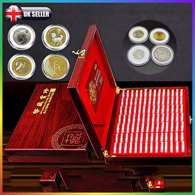 100xRound Capsule Wooden Coin Display Box Holder Collection Container Storage UK