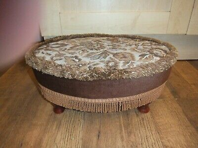 Vintage Oval Sherborne Foot Stool/Seat-tapestry Fabric Cover-Wooden legs