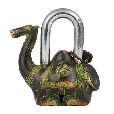 Collectible Vintage Home Decor Antique Camel Solid Brass Padlock & Keys#TSHUK102