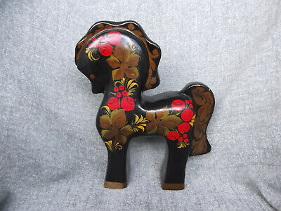 (366) Vintage Russian Folk Art Hand Painted Large Wooden Horse 9.5in / 24cm Tall