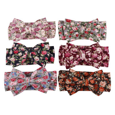 Baby Kids Vintage Bow Floral Bow Knot  Flowers Headband Turban Knot Hair Band