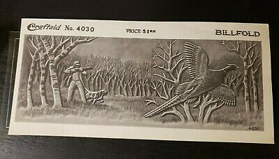 Vintage Leather Working Stamping Tooling Craftaid Billfold 4030 Pheasant Hunter