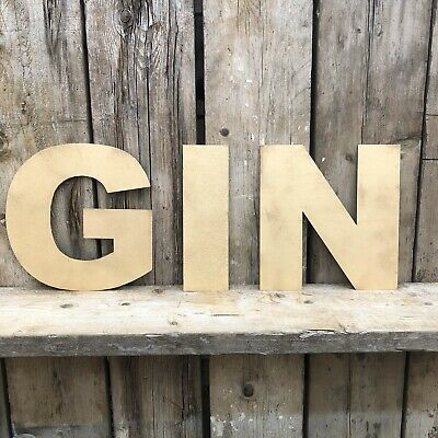 Gin In Rustic Gold Fat Font Metal Letters  Sign Lettering Cafe Restaurant Decor