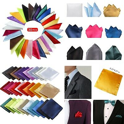 Wedding Set Mens Handkerchief Lot 30-Pcs Assorted Silk Satin Pocket Square Party