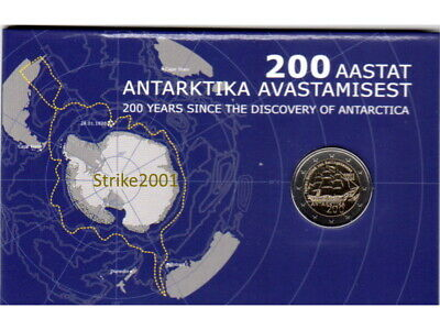 NEW !!! COIN CARD 2 EURO COMMEMORATIVO ESTONIA 2020 200° Scoperta Antartide