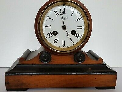 J.w. Benson Ludgate Hill London Wooden Mantle Clock - With Pendulum And Key.