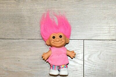 """Vintage 5"""" Russ Troll Doll With Pink Dress And White Shoes Colorful Pants"""