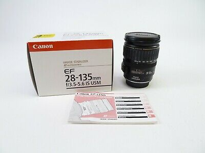 Canon EF 28-135mm F/3.5-5.6 IS USM Lens in OEM Box with Caps and Manual. In EC.
