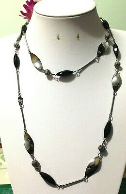 Pre Loved Black & Dark Silver Tone Long Sweater Bead Chain Necklace