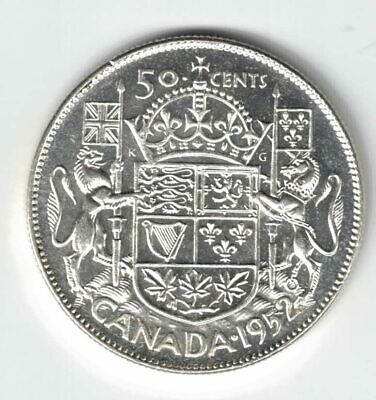 Canada 1952 Wide 50 Cent Half Dollar King George Vi Canadian .800 Silver Coin