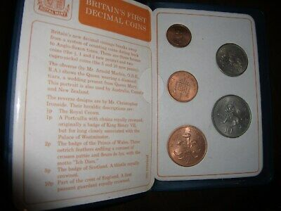 Vintage Royal Mint Britains First Decimal Coins Set, Total Of Five in a Wallet