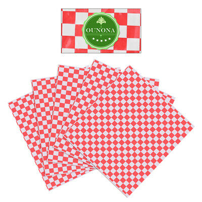OUNONA 100PCS Checkered Paper Grease Resistant Sandwich Wrap for Hamburger Food