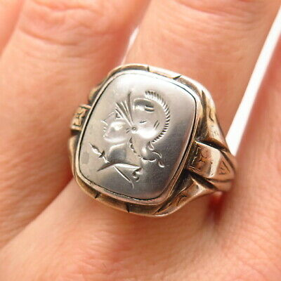 Antique Art Deco 925 Sterling Silver 10K Gold Top Roman Soldier Intaglio Ring