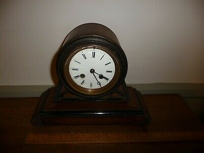 Antique key wind chiming clock with enamel dial, round Brass movement + pendulum