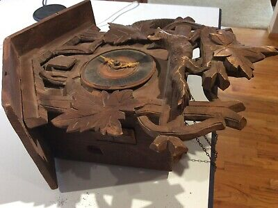 Antique BLACK FOREST CUCKOO CLOCK  w/ fox carving