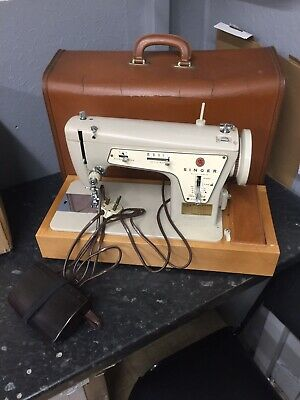Beautiful Serviced Vintage Singer BZB60-12 Sewing Machine With Case & Extension