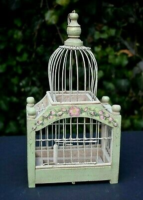 "Bird Cage Vintage Wood Wire Hand-Painted Flowers Spring Door 12""h Hang or Stand"
