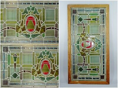 Antique Leaded Glass 6ft Stained Glass Transom Window Door Architectural Salvage
