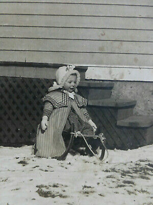 Antique On Board Cabinet Card Photo Lil Girl sits on Sled Cute Coat & Bonnet