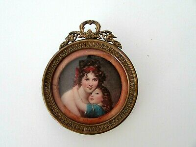 Antique French Gilt Bronze Stand & Hanging Picture Frame With Print