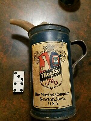 Maytag Oiler Fuel Mixing Can Tin Pitcher Vintage Advertising logo graphics