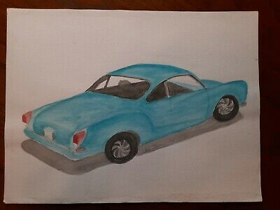 Original watercolor painting VW Karmann Ghia 1988 12 x 16