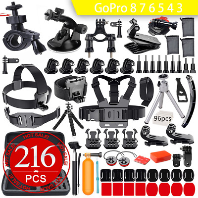 216pcs GoPro Hero 8 7 6 5 4 3+ Accessories Pack Case Chest Head Floating Monopod