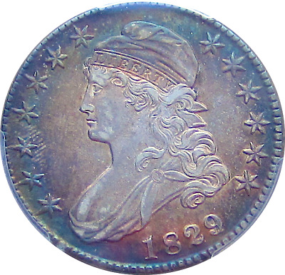 1829/7 Capped Bust Half Dollar, Major Color Spectrum Toning-A Must See PCGS AU50