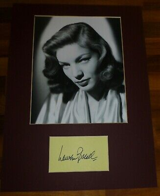 LAUREN BACALL-A Hand Signed Card Presented With A Photo-Mounted & Matted,COA