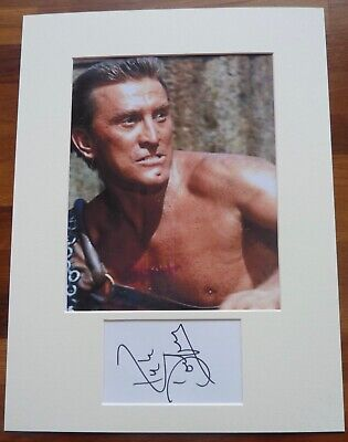 KIRK DOUGLAS-A Hand Signed Card Presented With A Photo-Mounted & Matted,COA