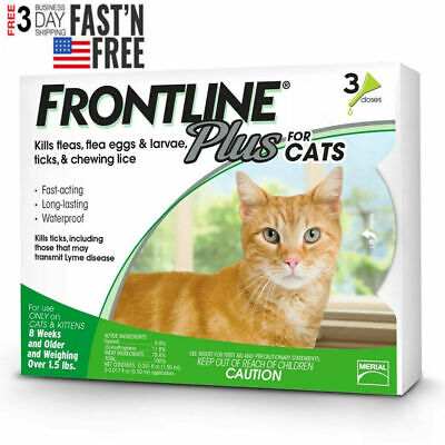 Genuine Frontline Plus For CATS over 1.5 lbs Flea & Tick Treatment - 3 Doses