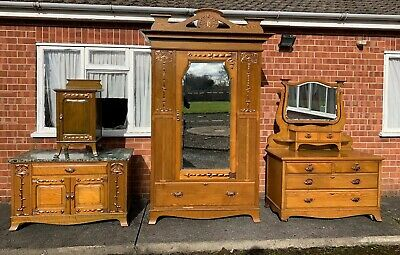Arts & Crafts Art Nouveau 4 Piece Bedroom Set Oak Copper Detail Antique Wardrobe