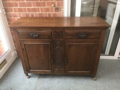 Arts & Crafts Art Nouveau Oak Sideboard Antique