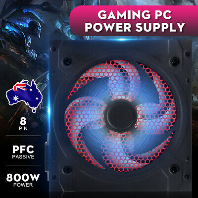 800W Power ATX 12V 2.3 PFC Gaming PC Power Supply 2x6PIN Quiet Fan For Computer