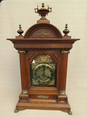 Large Antique Junghans Oak Cased 1/4 Striking Bracket Clock