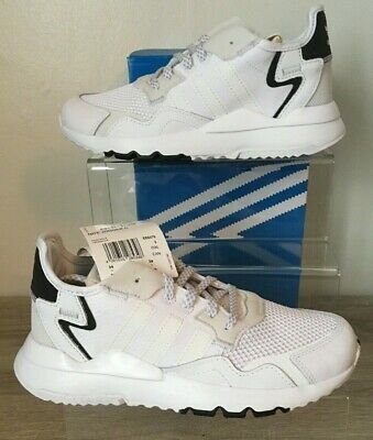 Adidas Nite Jogger C White Trainers Bnib Uk 2 Kids Girls Boys New In Box