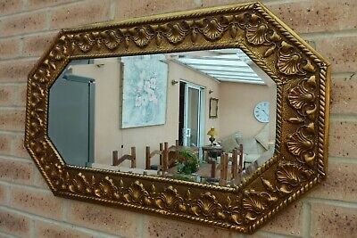 Vintage Antique Brass Frame Bevelled  Arts & Crafts Style Wall Mirror