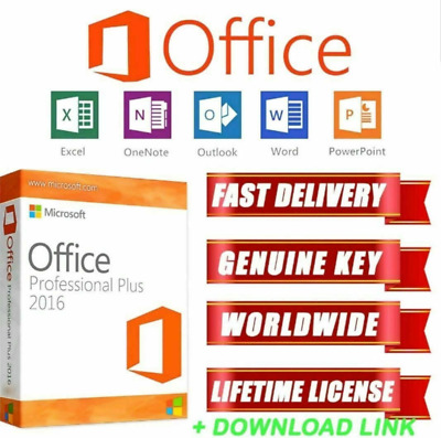 Microsoft Office 2016 Professional Plus Official Download Key 32/64 Bit Original
