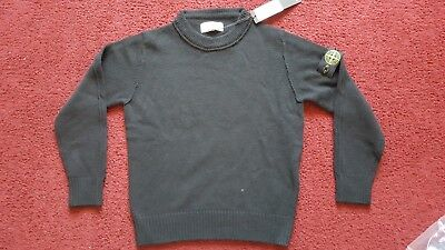 Boys Stone Island Black Knitted Wool Jumper Age 8 Brand New With Tags